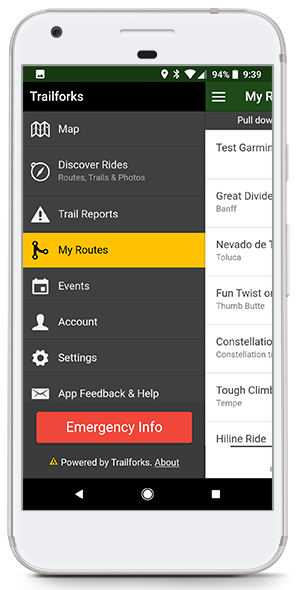 Trailforks App My Routes