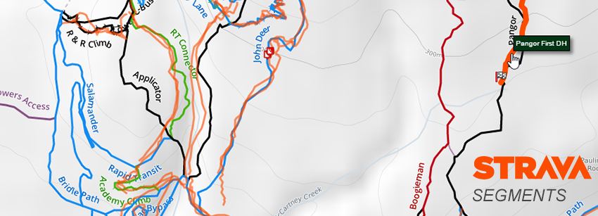 Strava segements overlayed on trail map